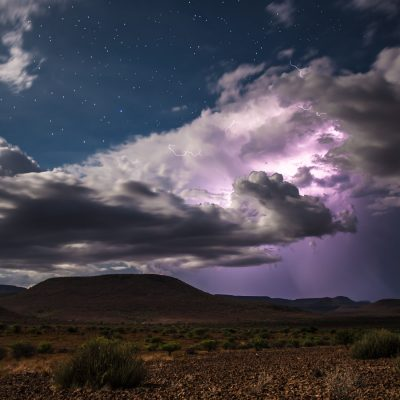 Storm Clouds and Purple Lightning Ball at Twilight in Etendeka